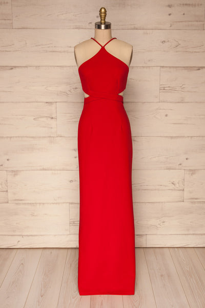 Canalaurco Red Halter Dress w/ Back Slit | La petite garçonne fabric