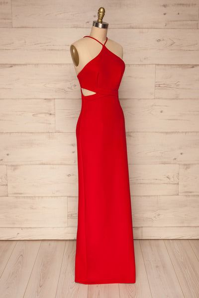 Canalaurco Red Halter Dress w/ Back Slit | La petite garçonne side view