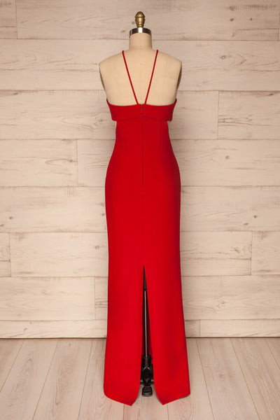 Canalaurco Red Halter Dress w/ Back Slit | La petite garçonne back view