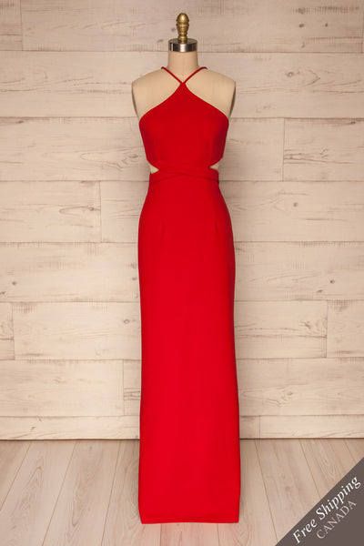 Canalaurco Red Halter Dress w/ Back Slit | La petite garçonne front view