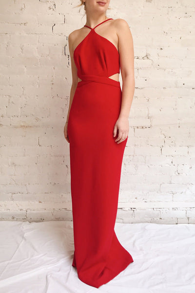 Canalaurco Red Halter Dress w/ Back Slit | La petite garçonne model look
