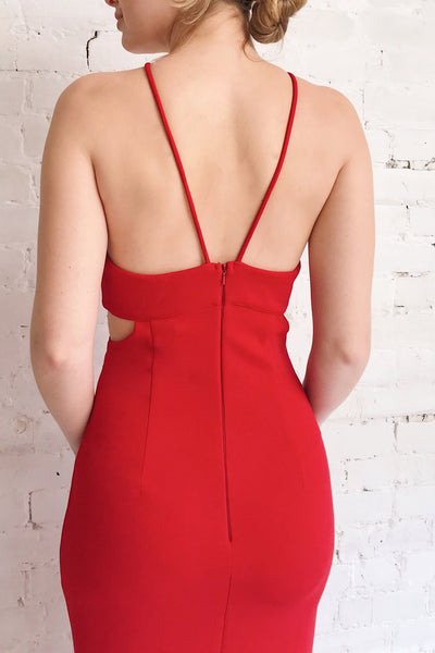 Canalaurco Red Halter Dress w/ Back Slit | La petite garçonne model back