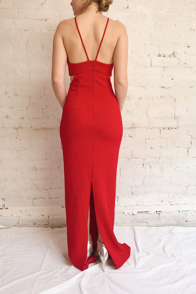 Canalaurco Red Halter Dress w/ Back Slit | La petite garçonne on model