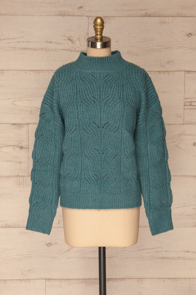 Canchagua Blue Mock Neck Knit Sweater | La petite garçonne front view