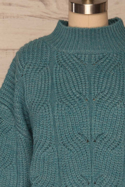 Canchagua Blue Mock Neck Knit Sweater | La petite garçonne front close up