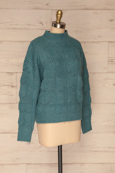 Canchagua Blue Mock Neck Knit Sweater | La petite garçonne side view