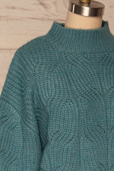 Canchagua Blue Mock Neck Knit Sweater | La petite garçonne side close up