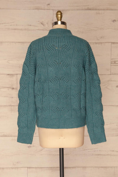 Canchagua Blue Mock Neck Knit Sweater | La petite garçonne back view