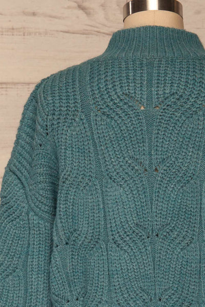 Canchagua Blue Mock Neck Knit Sweater | La petite garçonne back close up
