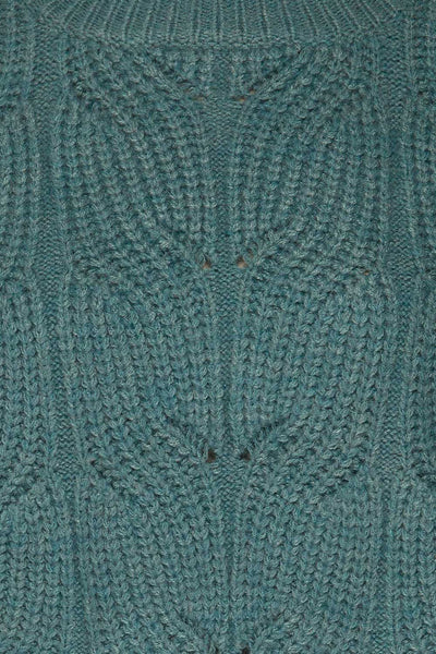 Canchagua Blue Mock Neck Knit Sweater | La petite garçonne fabric