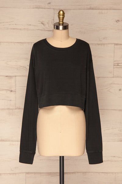Cangil Black Long Sleeved Crop Top | FRONT VIEW | La Petite Garçonne
