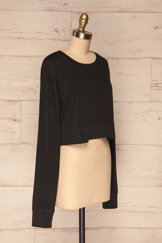 Cangil Black Long Sleeved Crop Top  | SIDE VIEW | La Petite Garçonne