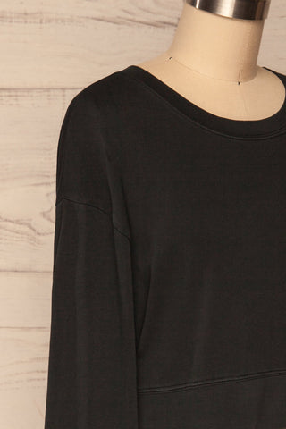 Cangil Black Long Sleeved Crop Top | SIDE CLOSE UP | La Petite Garçonne