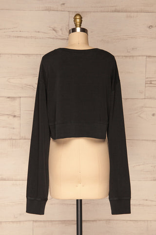 Cangil Black Long Sleeved Crop Top | BACK VIEW | La Petite Garçonne