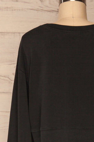 Cangil Black Long Sleeved Crop Top | BACK CLOSE UP  | La Petite Garçonne