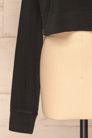 Cangil Black Long Sleeved Crop Top | SLEEVE CLOSE UP | La Petite Garçonne