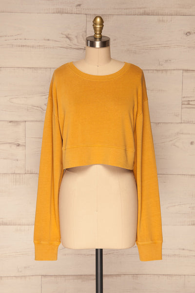 Cangil Mustard Yellow Long Sleeved Crop Top | FRONT VIEW | La Petite Garçonne
