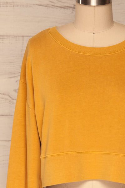 Cangil Mustard Yellow Long Sleeved Crop Top | FRONT CLOSE UP | La Petite Garçonne