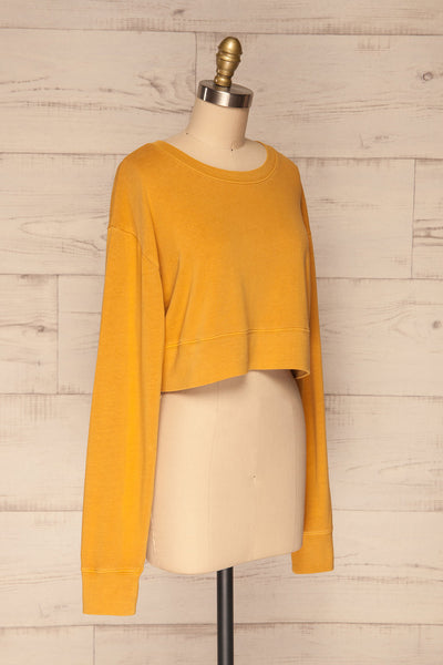 Cangil Mustard Yellow Long Sleeved Crop Top | SIDE VIEW | La Petite Garçonne