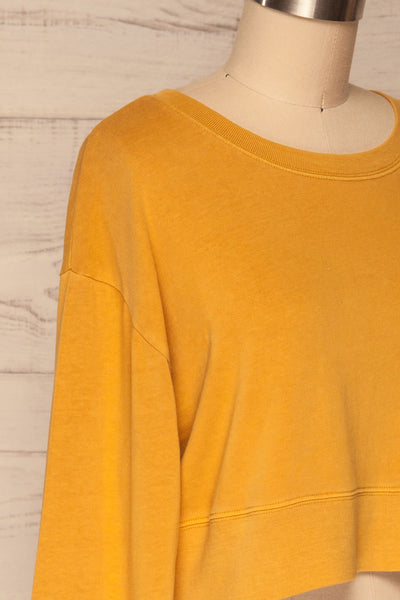 Cangil Mustard Yellow Long Sleeved Crop Top | SIDE CLOSE UP | La Petite Garçonne