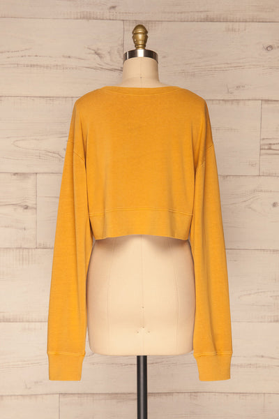 Cangil Mustard Yellow Long Sleeved Crop Top | BACK VIEW | La Petite Garçonne