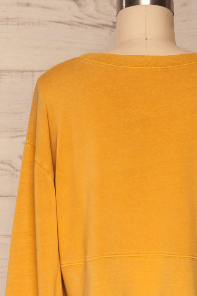 Cangil Mustard Yellow Long Sleeved Crop Top | BACK CLOSE UP  | La Petite Garçonne