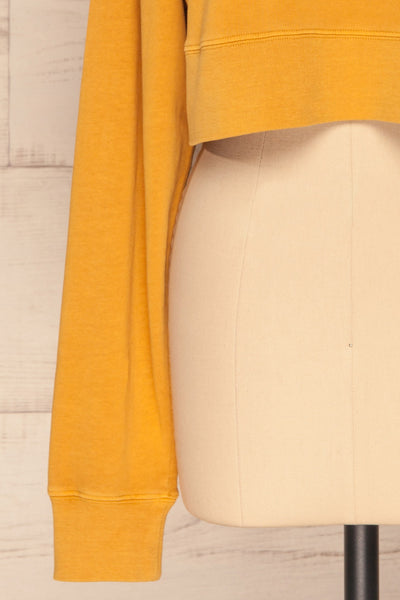 Cangil Mustard Yellow Long Sleeved Crop Top | SLEEVE CLOSE UP | La Petite Garçonne