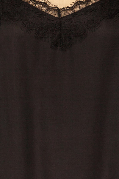 Canico Noir Black Silky & Lace Camisole detail close up | La Petite Garçonne