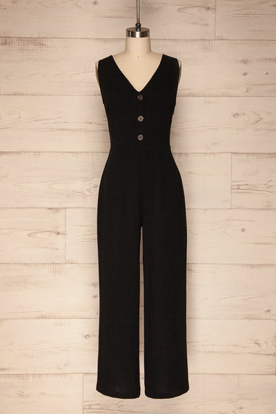 Canitas Coal Black Linen Jumpsuit with Buttons | La Petite Garçonne 1