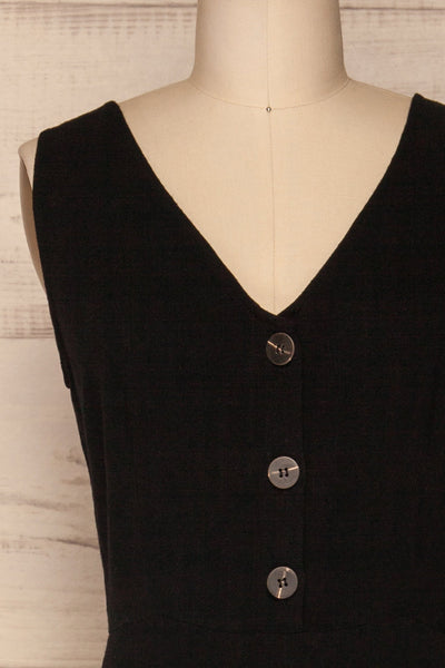 Canitas Coal Black Linen Jumpsuit with Buttons | La Petite Garçonne 2