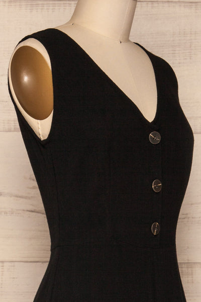 Canitas Coal Black Linen Jumpsuit with Buttons | La Petite Garçonne 4