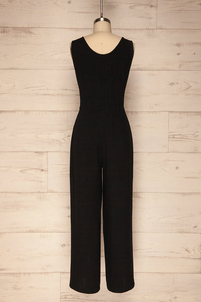 Canitas Coal Black Linen Jumpsuit with Buttons | La Petite Garçonne 5