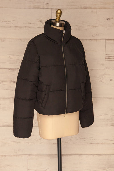 Canonero Black Cropped Puffer Jacket | La petite garçonne side view