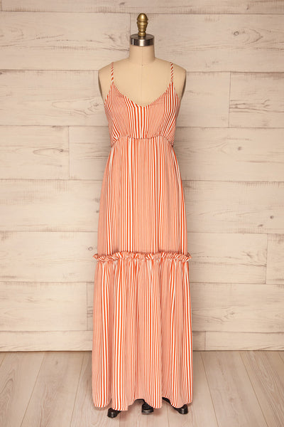 Capihuara Orange Striped Maxi Summer Dress | La Petite Garçonne