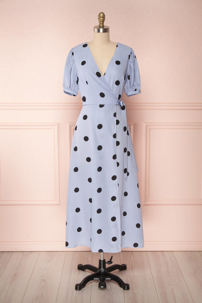 Capselle Lavender Polka Dot Midi Wrap Dress | Boutique 1861 front view