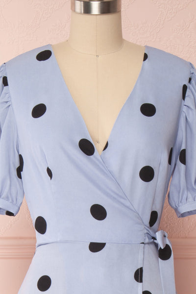 Capselle Lavender Polka Dot Midi Wrap Dress | Boutique 1861 front close up