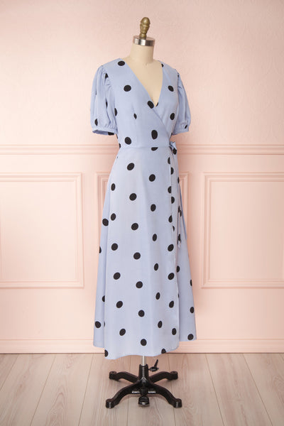 Capselle Lavender Polka Dot Midi Wrap Dress | Boutique 1861 side view