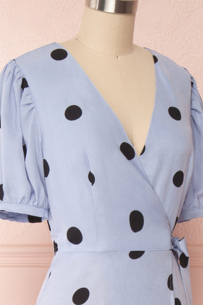 Capselle Lavender Polka Dot Midi Wrap Dress | Boutique 1861 side close up