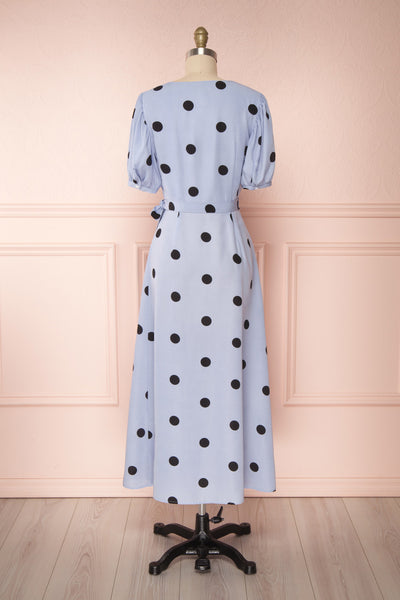 Capselle Lavender Polka Dot Midi Wrap Dress | Boutique 1861 back view