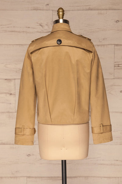 Capsol Light Khaki Short Trench Jacket back view | La petite garçonne