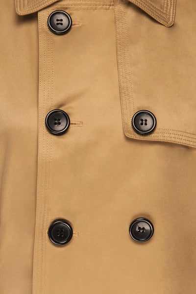 Capsol Light Khaki Short Trench Jacket fabric | La petite garçonne