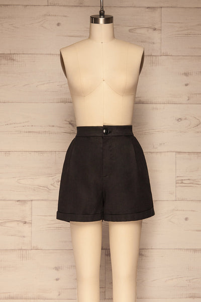 Capzol Pepper Black High Waist Shorts | La petite garçonne front view