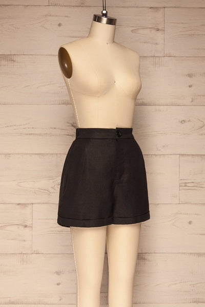 Capzol Pepper Black High Waist Shorts | La petite garçonne side view