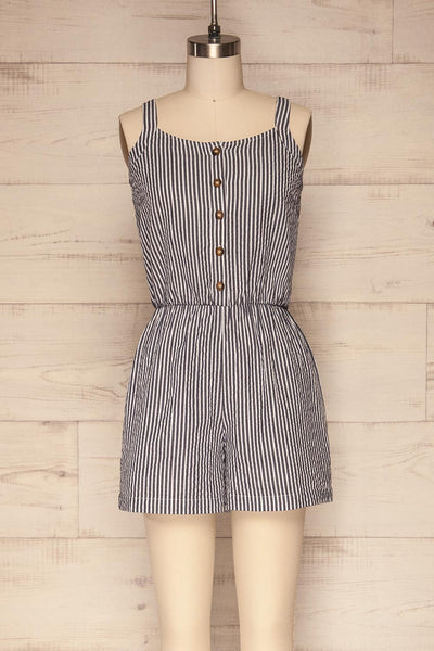 Caracas Sea Navy Blue & White Striped Romper | La Petite Garçonne
