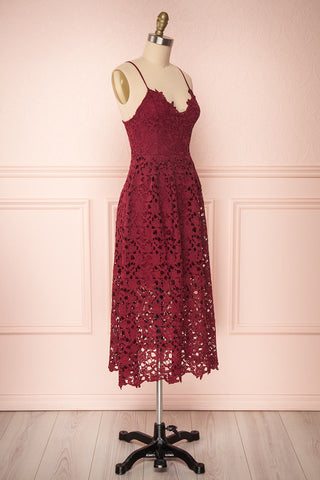 Carin Bourgogne Burgundy Lace A-Line Cocktail Dress | Side View | Boutique 1861