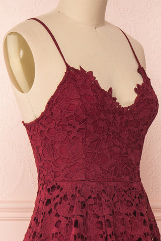 Carin Bourgogne Burgundy Lace A-Line Cocktail Dress | Side Close Up | Boutique 1861
