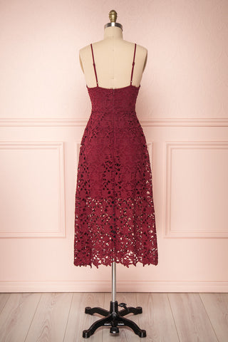 Carin Bourgogne Burgundy Lace A-Line Cocktail Dress | Back View| Boutique 1861