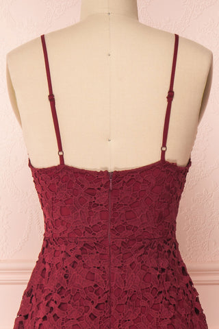 Carin Bourgogne Burgundy Lace A-Line Cocktail Dress | Back Close Up | Boutique 1861
