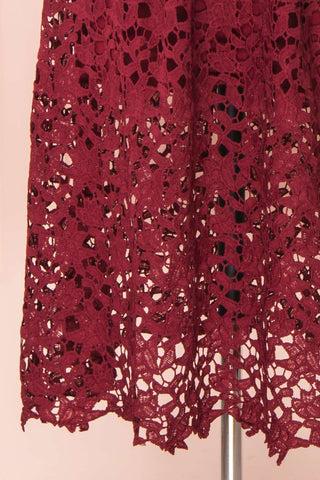 Carin Bourgogne Burgundy Lace A-Line Cocktail Dress | Bottom Close Up | Boutique 1861