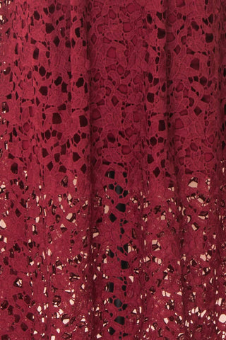 Carin Bourgogne Burgundy Lace A-Line Cocktail Dress | Fabric Detail | Boutique 1861